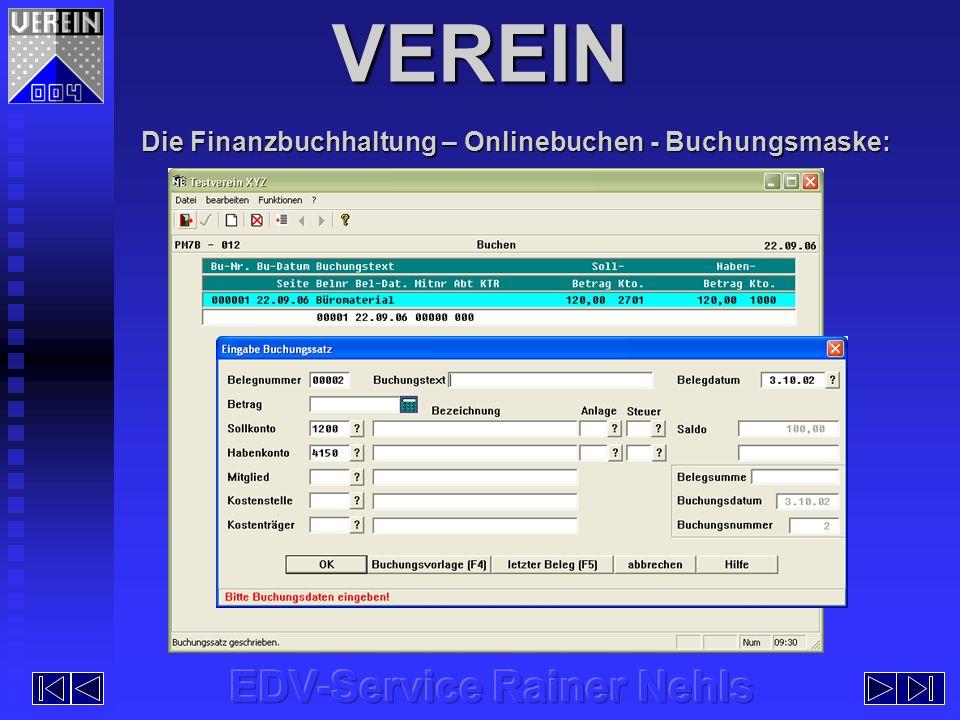 Die Finanzbuchhaltung – Onlinebuchen - Buchungsmaske: