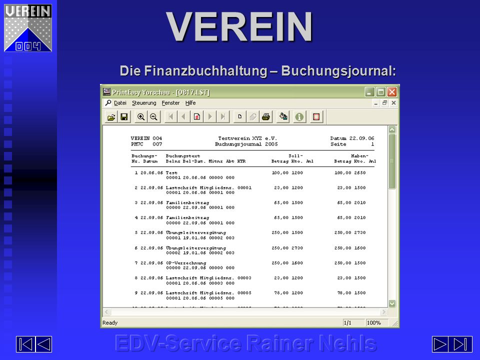 Die Finanzbuchhaltung – Buchungsjournal:
