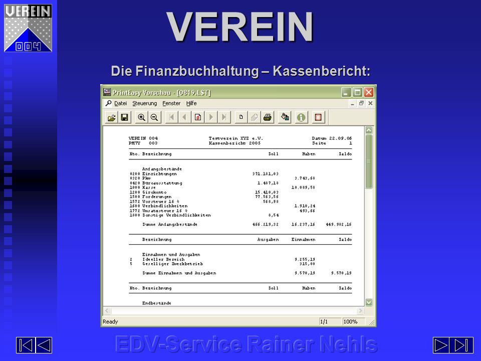 Die Finanzbuchhaltung – Kassenbericht: