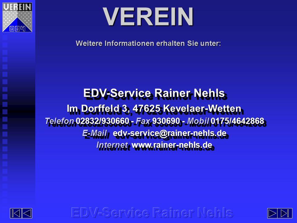 VEREIN EDV-Service Rainer Nehls EDV-Service Rainer Nehls