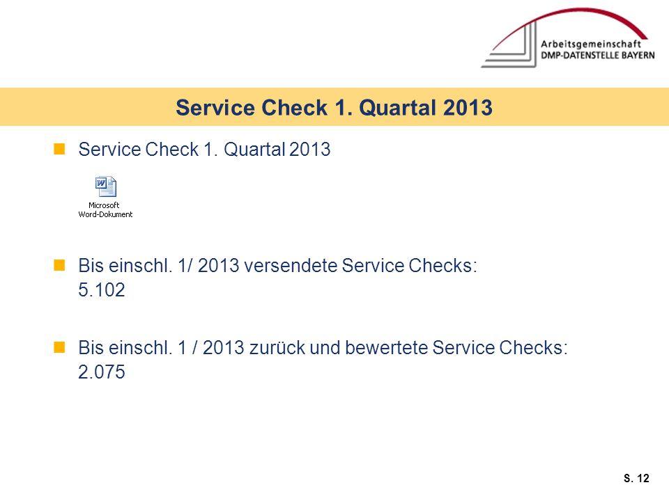 Service Check 1. Quartal 2013 Service Check 1. Quartal 2013