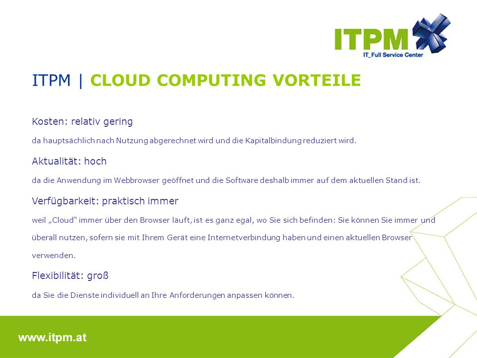 ITPM | CLOUD COMPUTING VORTEILE