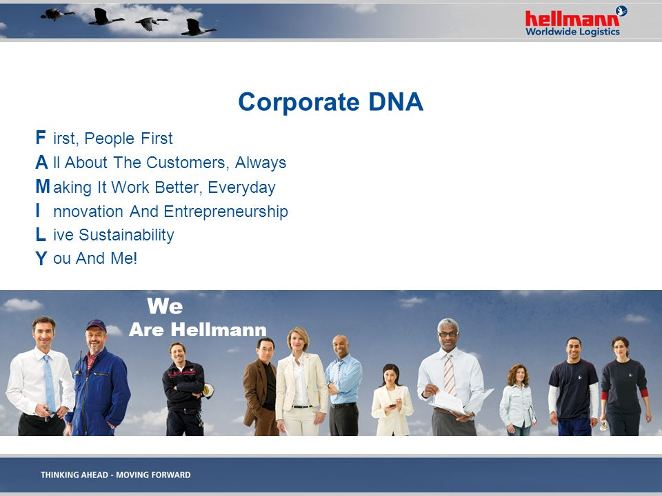 Corporate DNA F A M I L Y We Are Hellmann irst, People First