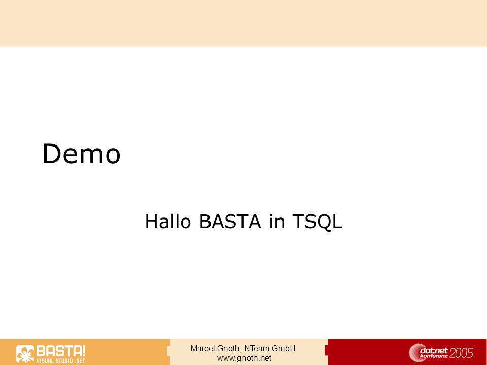 Demo Hallo BASTA in TSQL