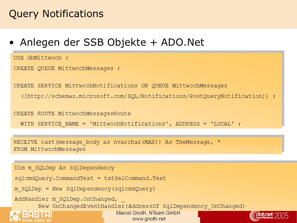 Anlegen der SSB Objekte + ADO.Net