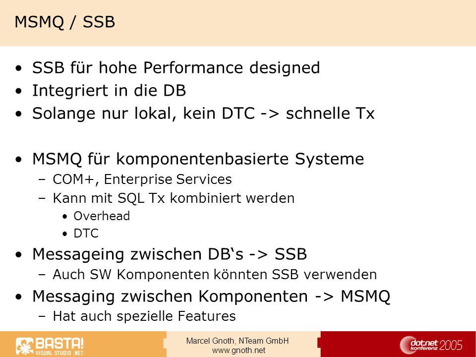 SSB für hohe Performance designed Integriert in die DB