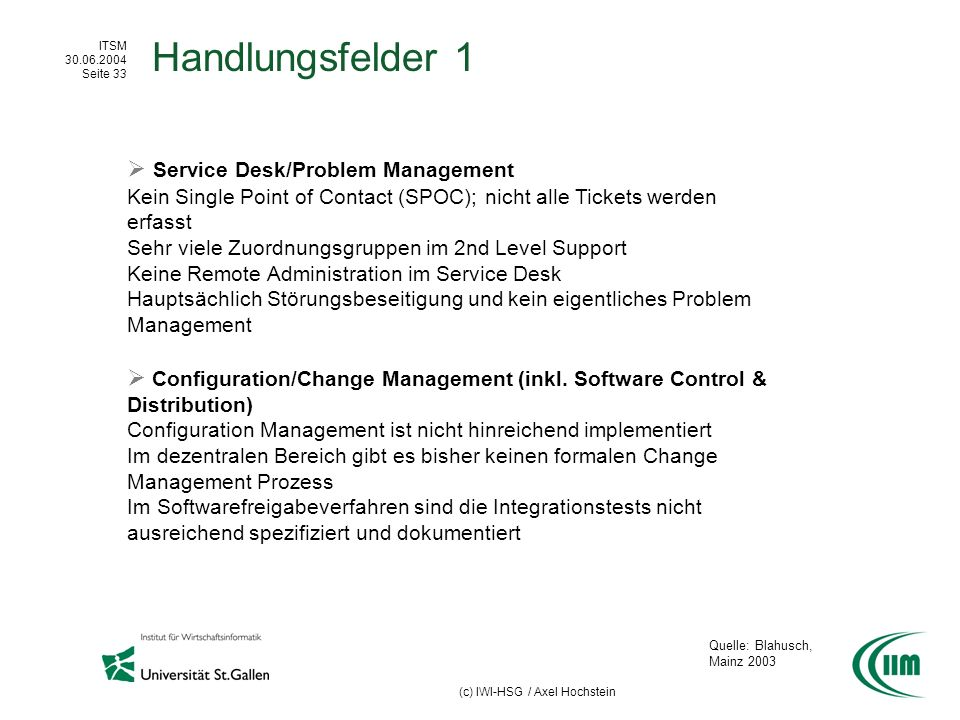 Handlungsfelder 1  Service Desk/Problem Management