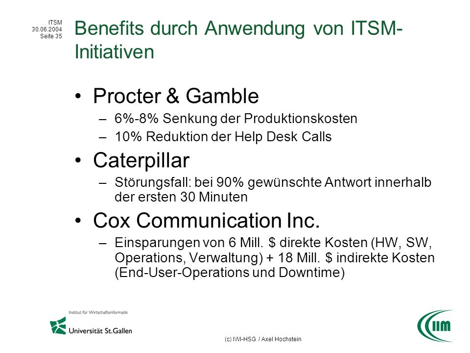 Benefits durch Anwendung von ITSM-Initiativen