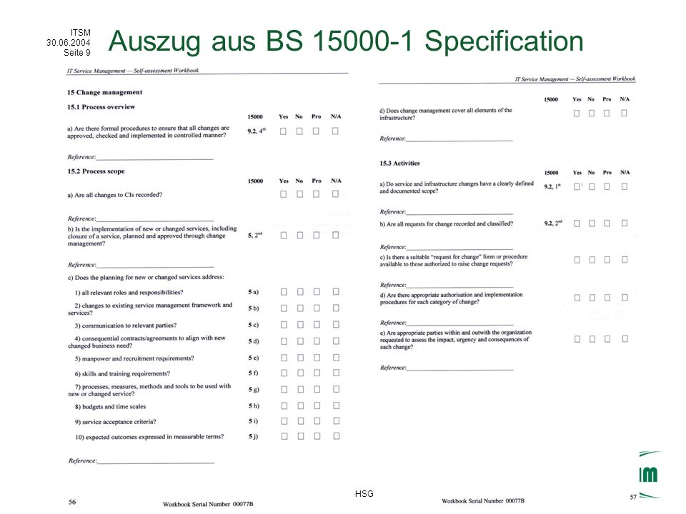 Auszug aus BS 15000-1 Specification