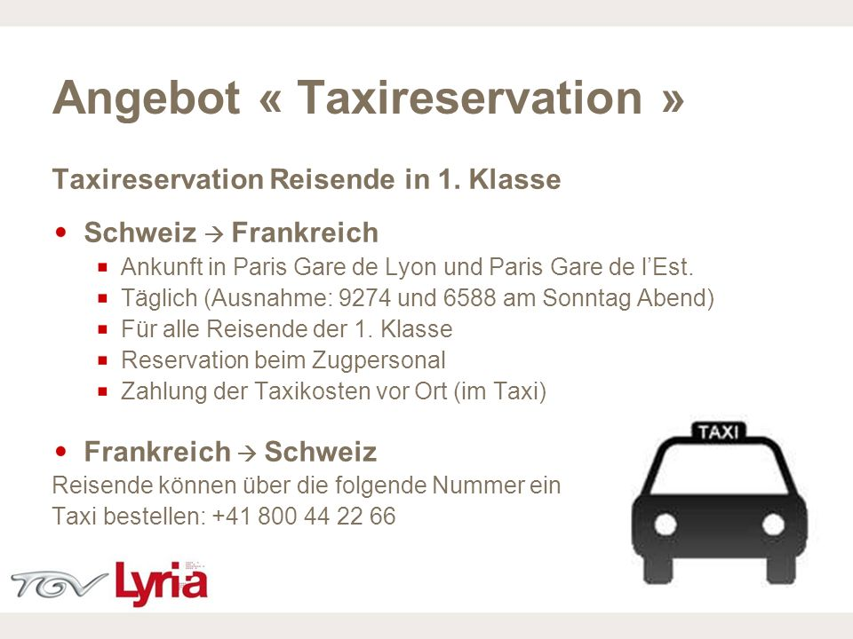 Angebot « Taxireservation »