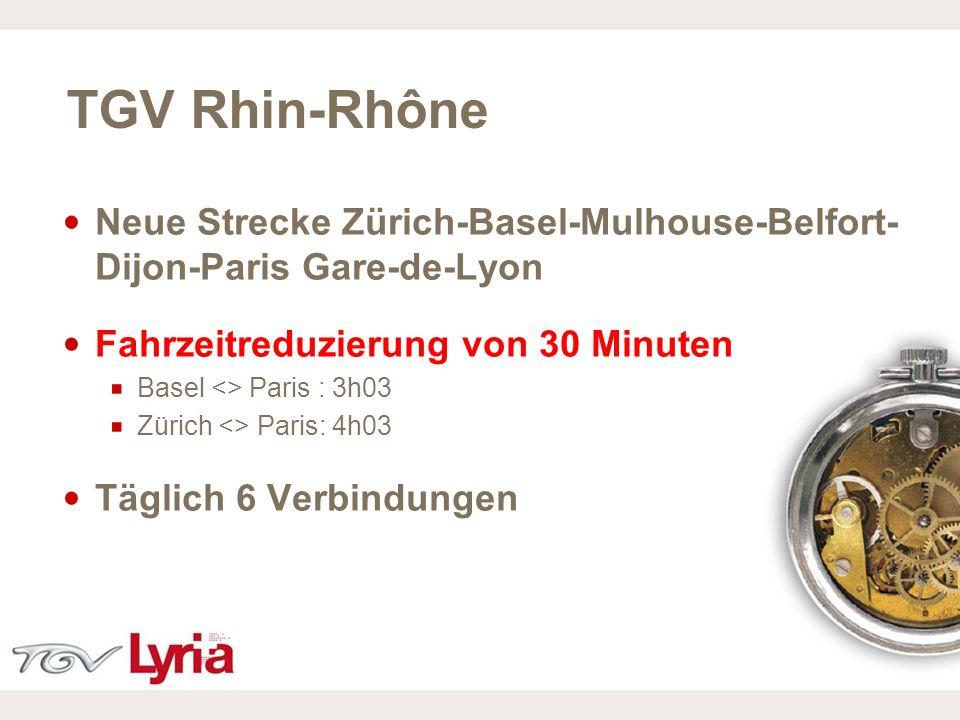 TGV Rhin-RhôneNeue Strecke Zürich-Basel-Mulhouse-Belfort- Dijon-Paris Gare-de-Lyon. Fahrzeitreduzierung von 30 Minuten.