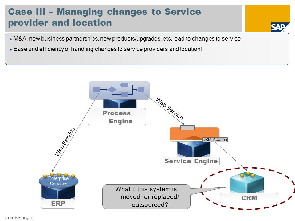 Case III – Managing changes to Service provider and location