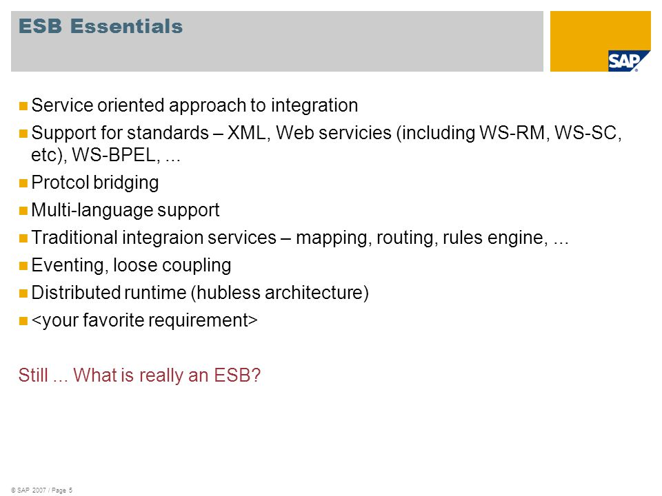 ESB Essentials Service oriented approach to integration