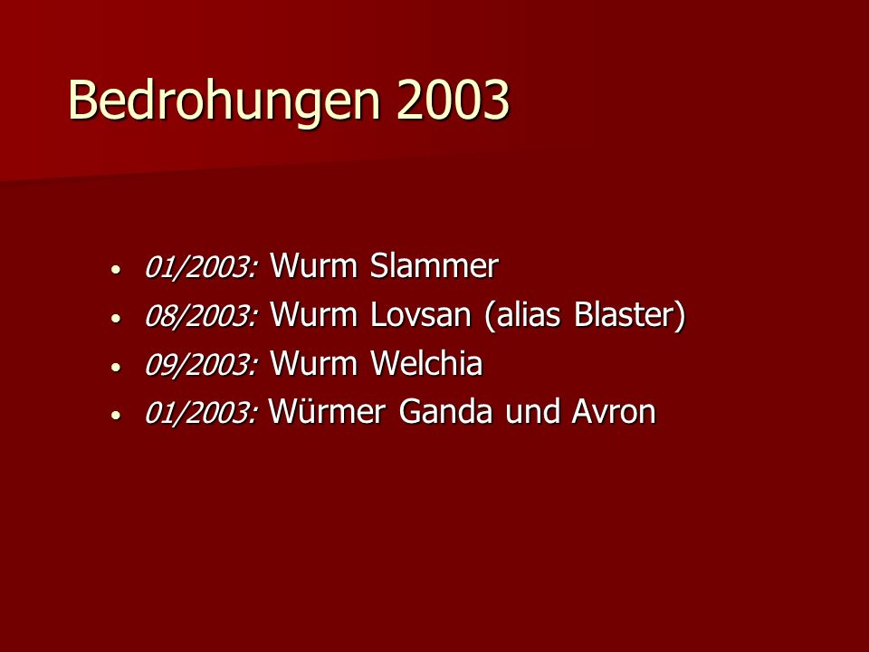 Bedrohungen 2003 01/2003: Wurm Slammer