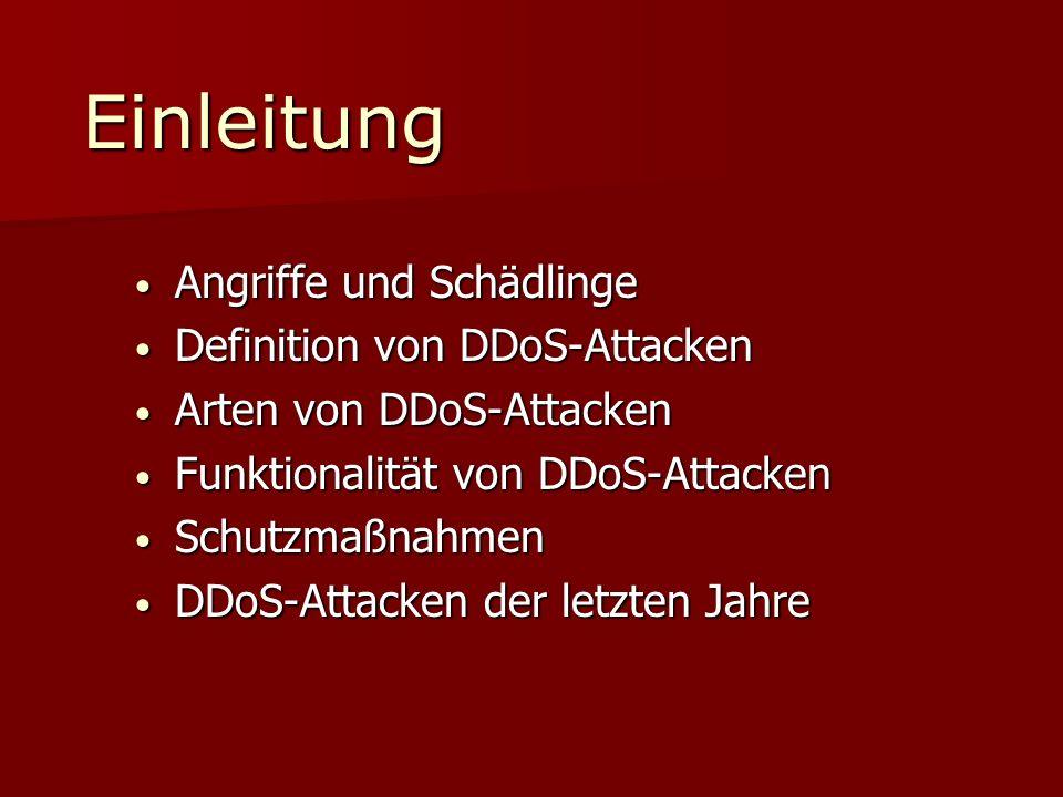 Einleitung Angriffe und Schädlinge Definition von DDoS-Attacken
