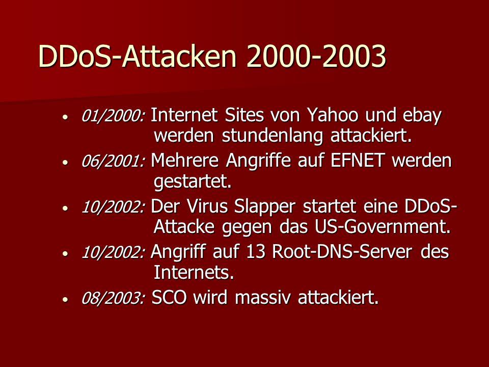DDoS-Attacken 2000-2003 01/2000: Internet Sites von Yahoo und ebay werden stundenlang attackiert.