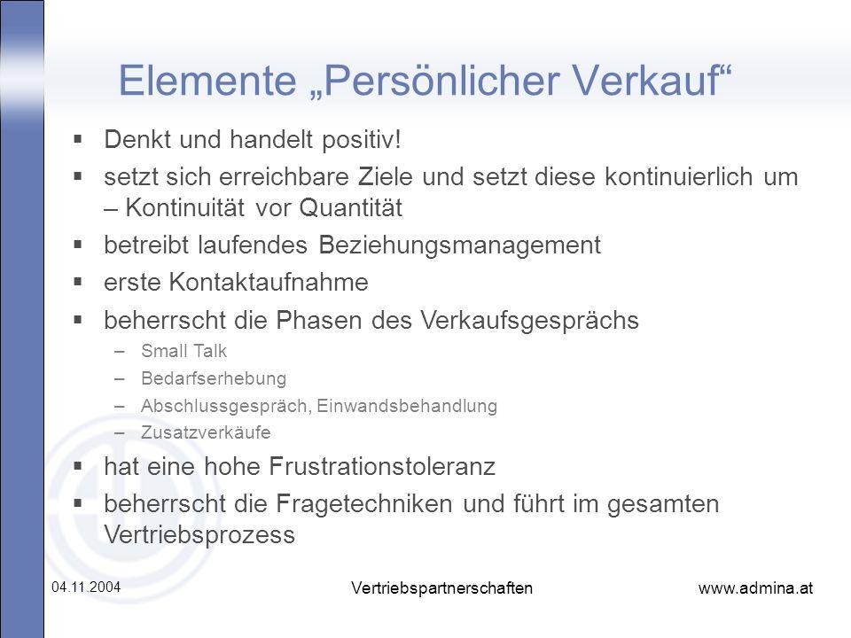 """Elemente """"Persönlicher Verkauf"""