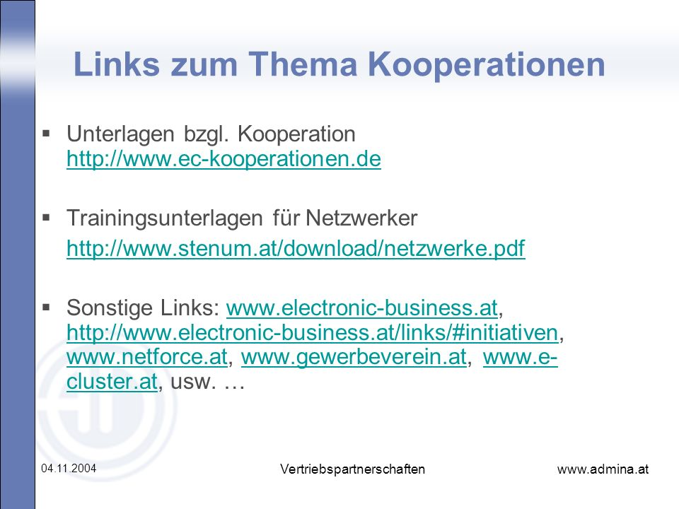 Links zum Thema Kooperationen