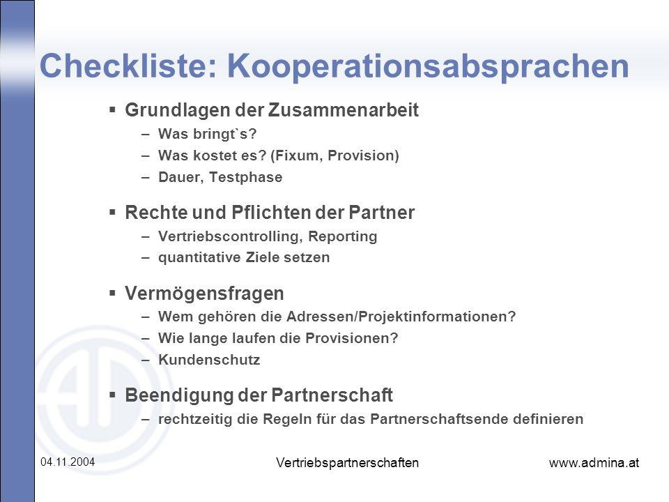 Checkliste: Kooperationsabsprachen