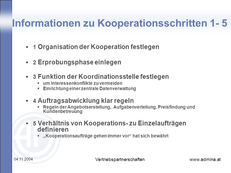 Informationen zu Kooperationsschritten 1- 5