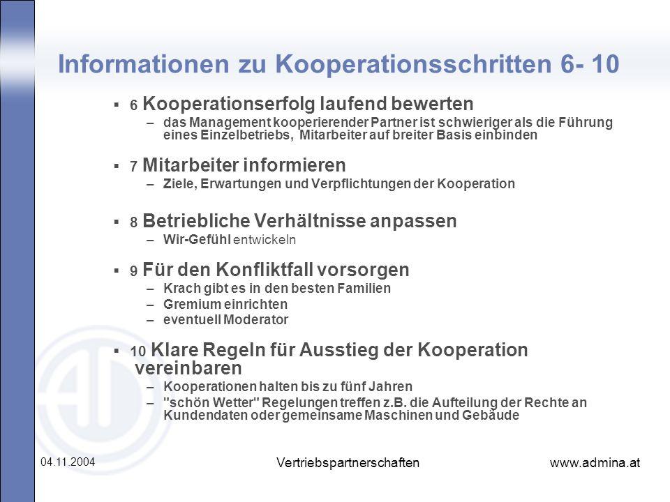 Informationen zu Kooperationsschritten 6- 10