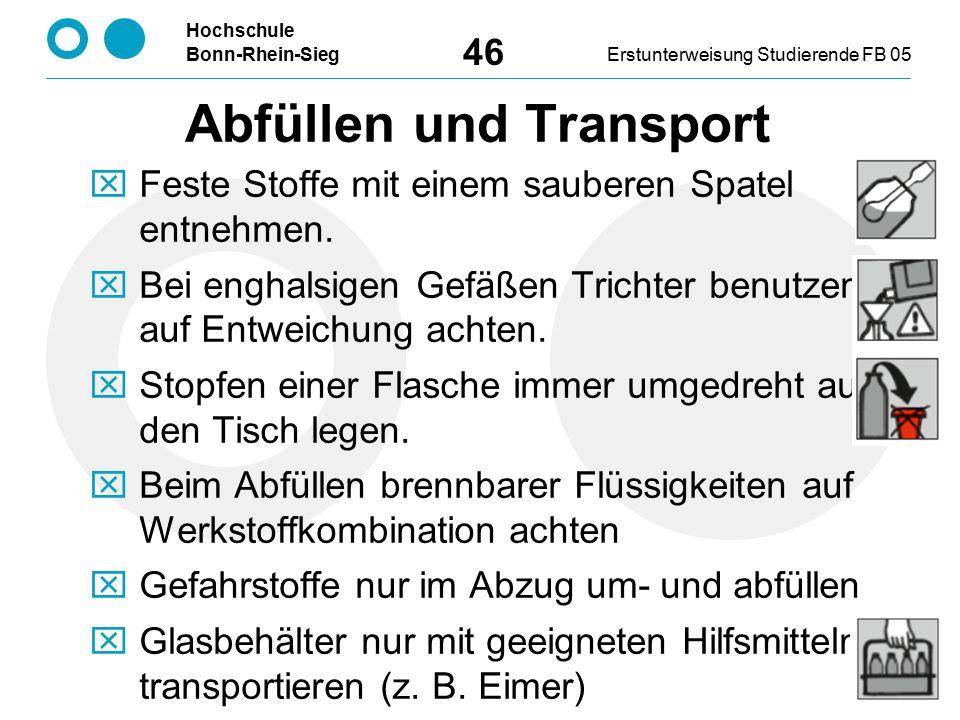 Abfüllen und Transport