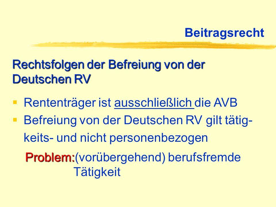Beitragsrecht Rechtsfolgen der Befreiung von der Deutschen RV. Rententräger ist ausschließlich die AVB.