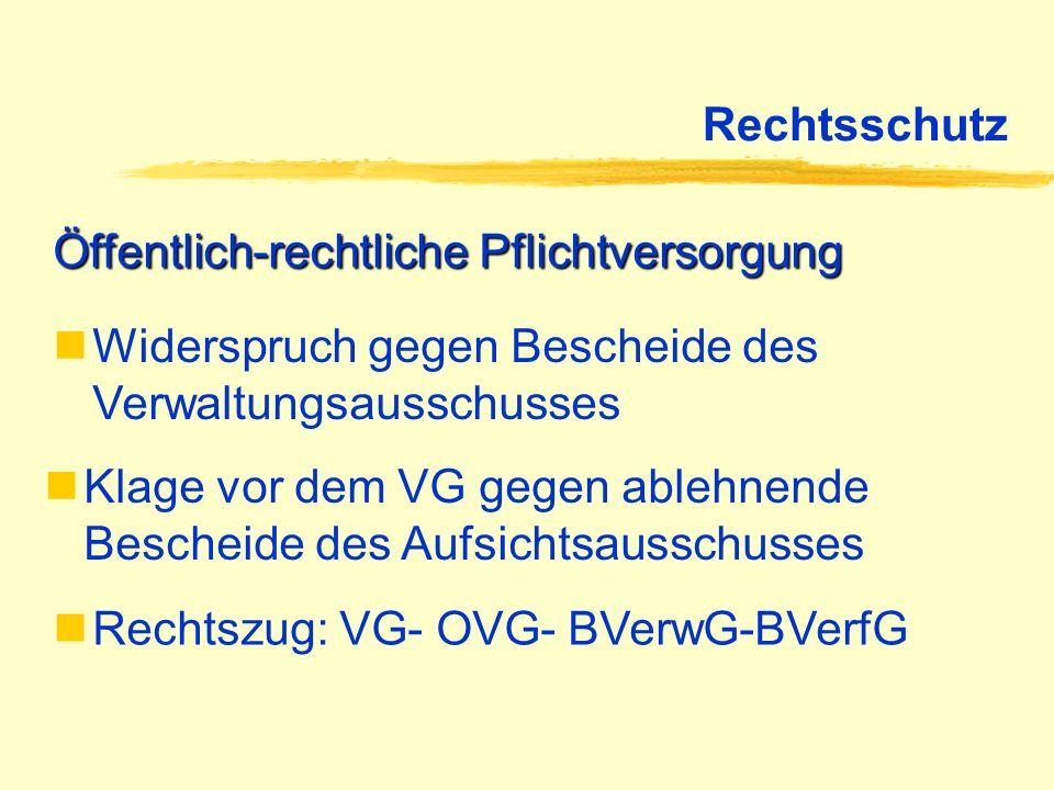 Rechtsschutz Öffentlich-rechtliche Pflichtversorgung. Widerspruch gegen Bescheide des Verwaltungsausschusses.