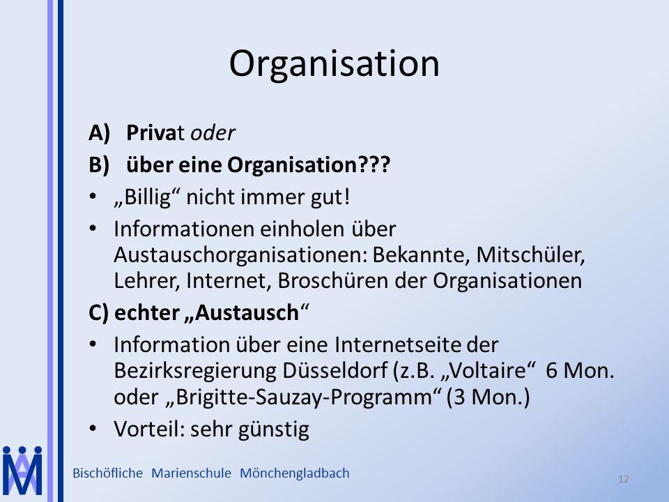Organisation Privat oder über eine Organisation