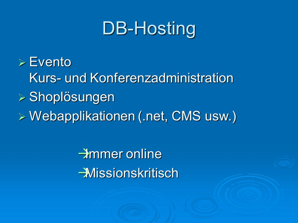 DB-Hosting Evento Kurs- und Konferenzadministration Shoplösungen