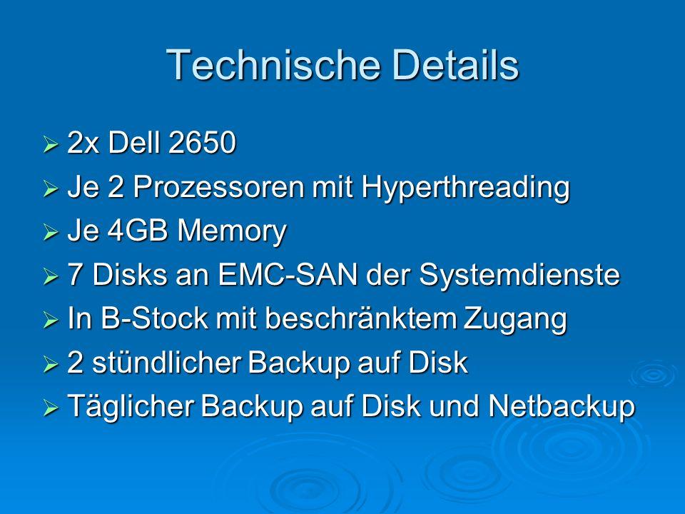 Technische Details 2x Dell 2650 Je 2 Prozessoren mit Hyperthreading