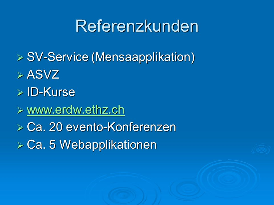 Referenzkunden SV-Service (Mensaapplikation) ASVZ ID-Kurse