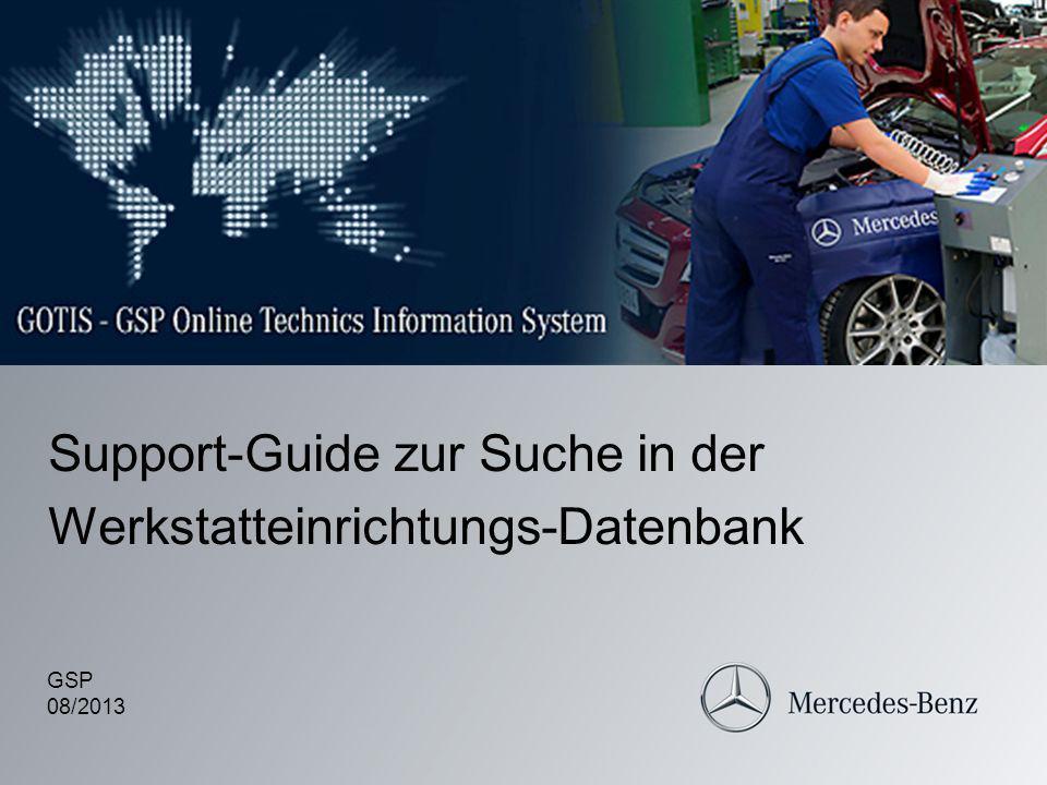 Support-Guide zur Suche in der Werkstatteinrichtungs-Datenbank