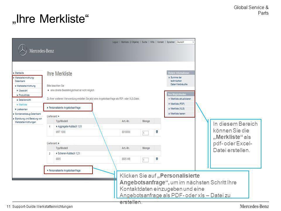 """""""Ihre Merkliste In diesem Bereich können Sie die """"Merkliste als pdf- oder Excel-Datei erstellen."""