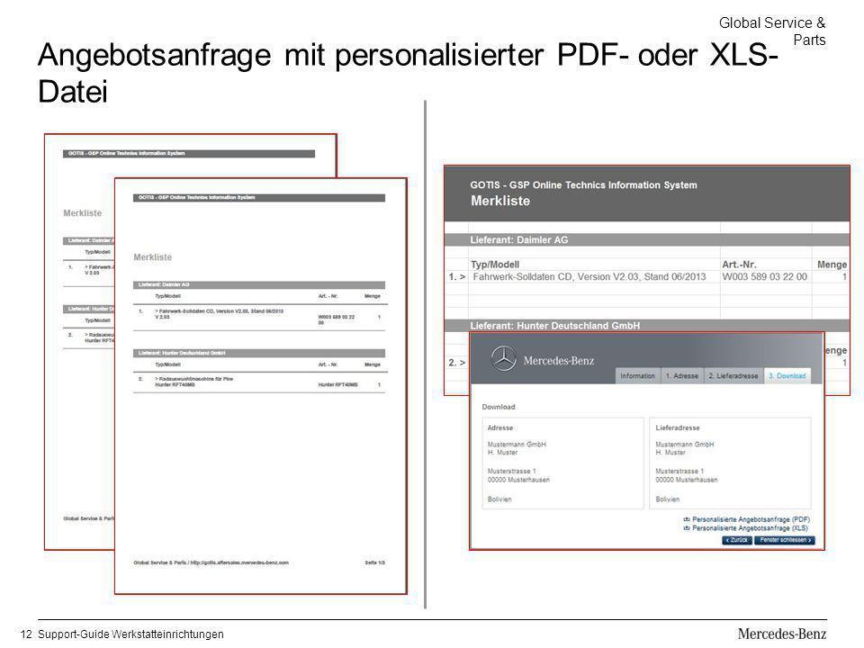 Angebotsanfrage mit personalisierter PDF- oder XLS-Datei