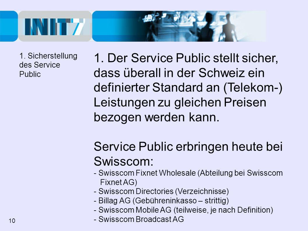 Service Public erbringen heute bei Swisscom:
