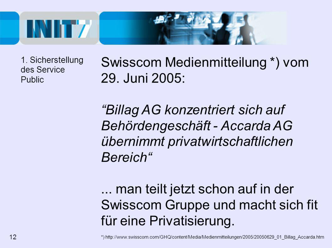 Swisscom Medienmitteilung *) vom 29. Juni 2005: