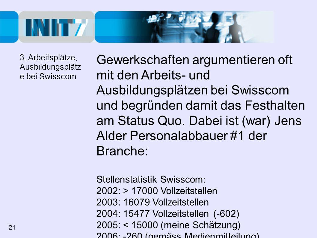 3. Arbeitsplätze, Ausbildungsplätze bei Swisscom