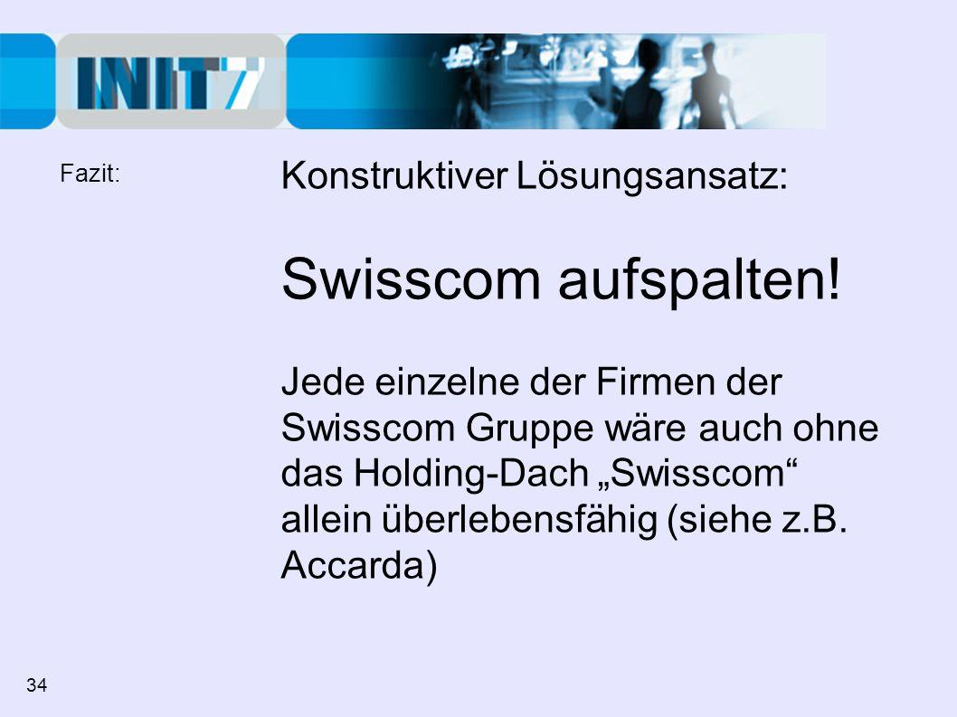 Swisscom aufspalten! Konstruktiver Lösungsansatz: