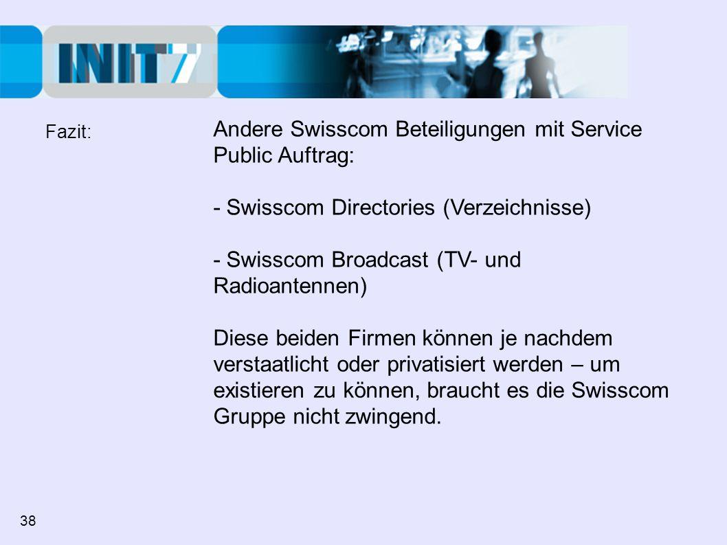 Andere Swisscom Beteiligungen mit Service Public Auftrag: