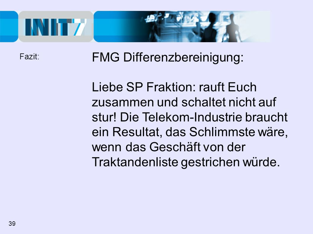 FMG Differenzbereinigung: