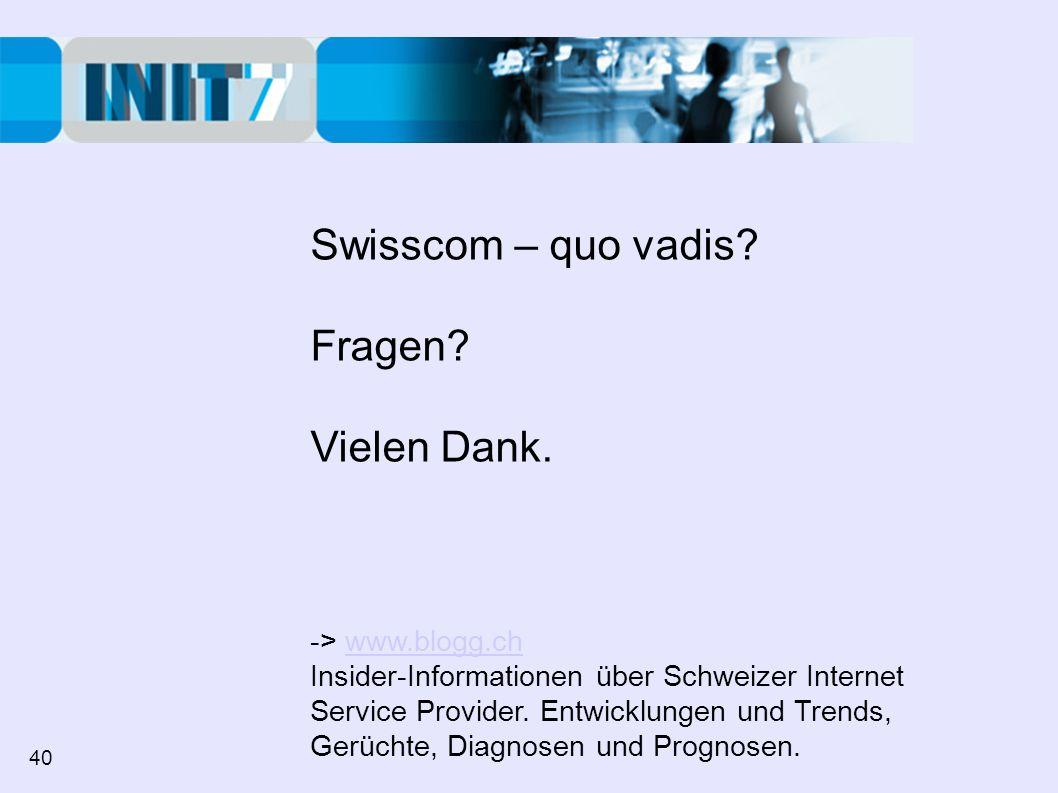 Swisscom – quo vadis Fragen Vielen Dank. -> www.blogg.ch
