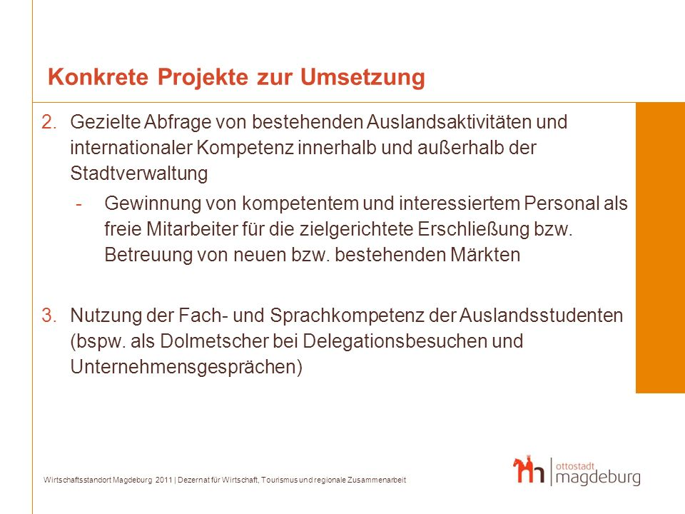 Konkrete Projekte zur Umsetzung