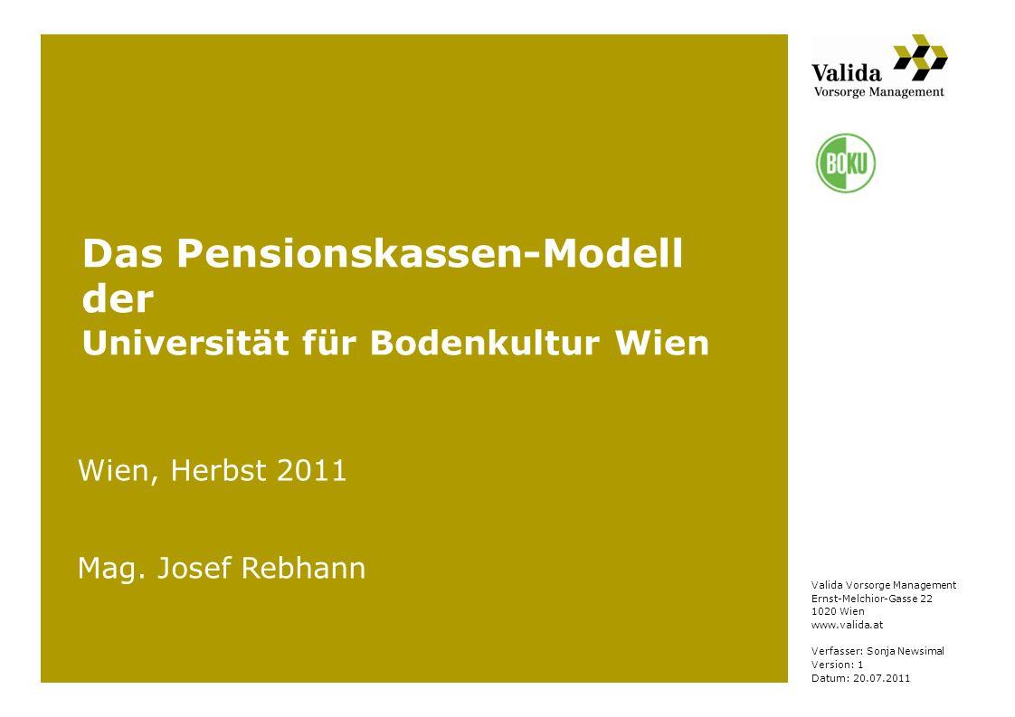 Das Pensionskassen-Modell der Universität für Bodenkultur Wien