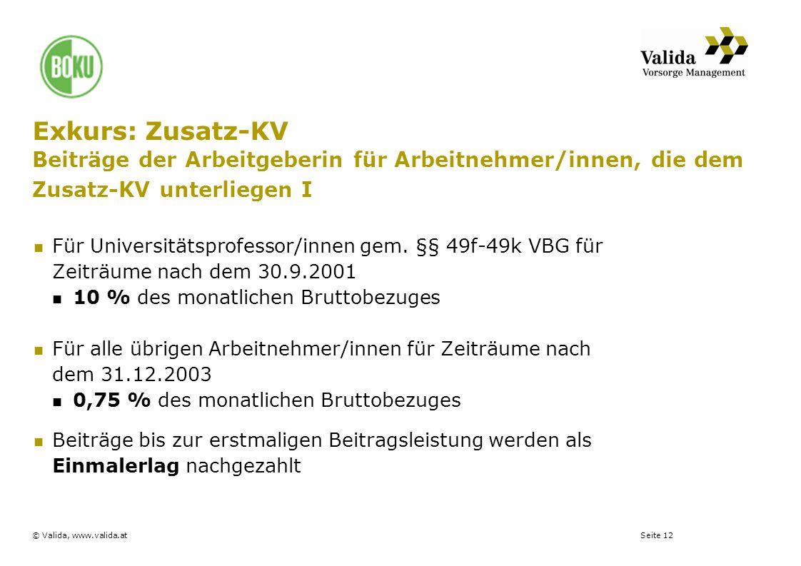 Exkurs: Zusatz-KV Beiträge der Arbeitgeberin für Arbeitnehmer/innen, die dem Zusatz-KV unterliegen I
