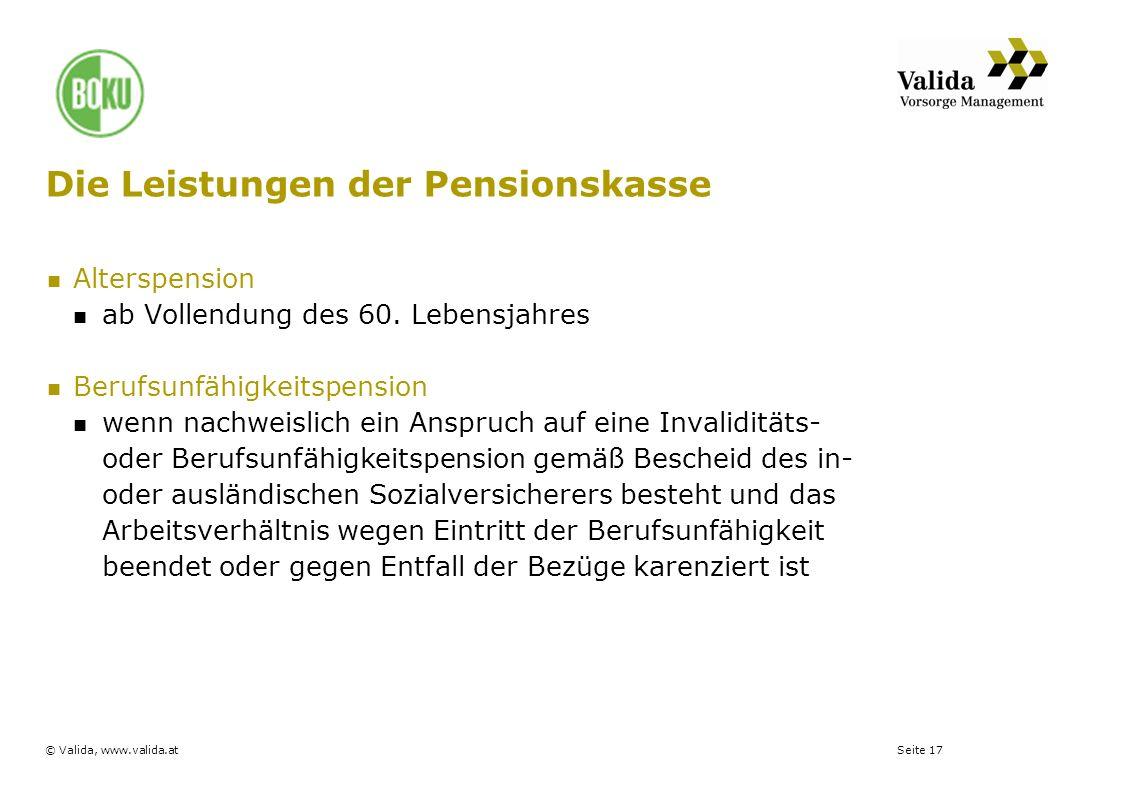 Die Leistungen der Pensionskasse