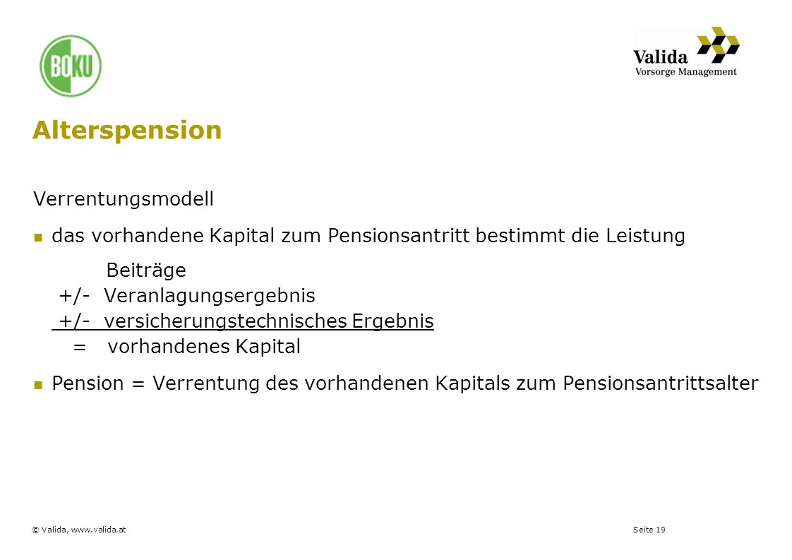 Alterspension Verrentungsmodell