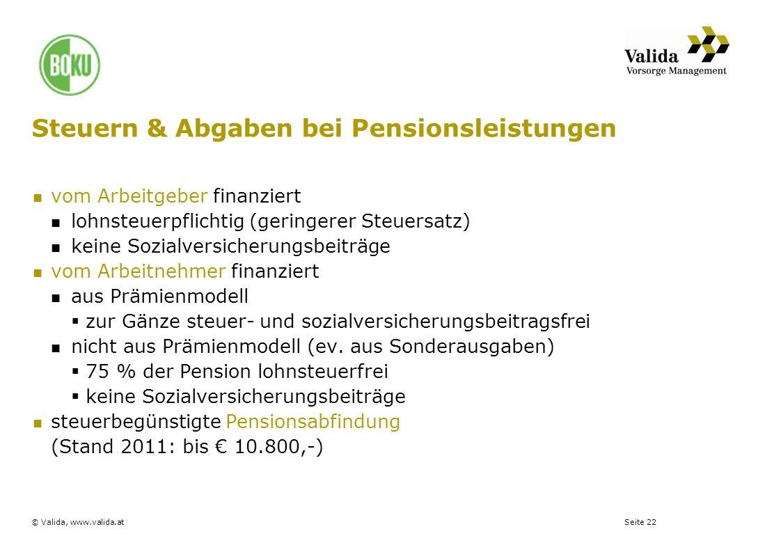 Steuern & Abgaben bei Pensionsleistungen