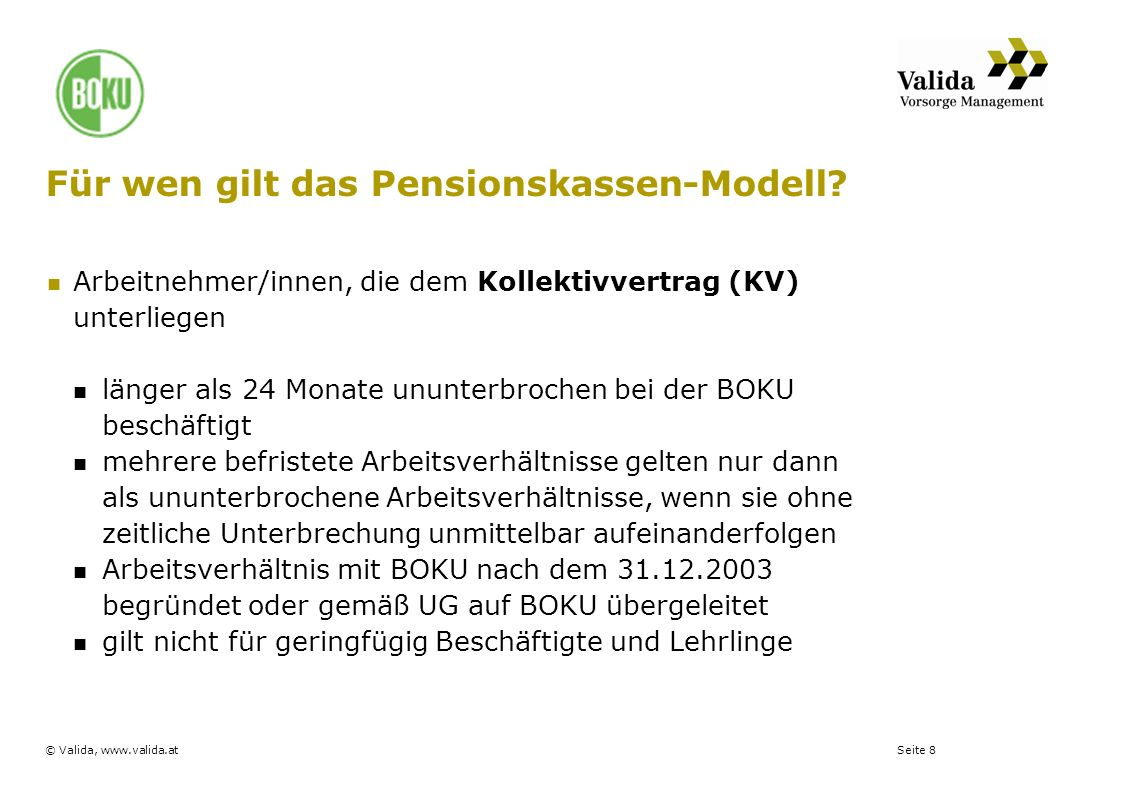 Für wen gilt das Pensionskassen-Modell
