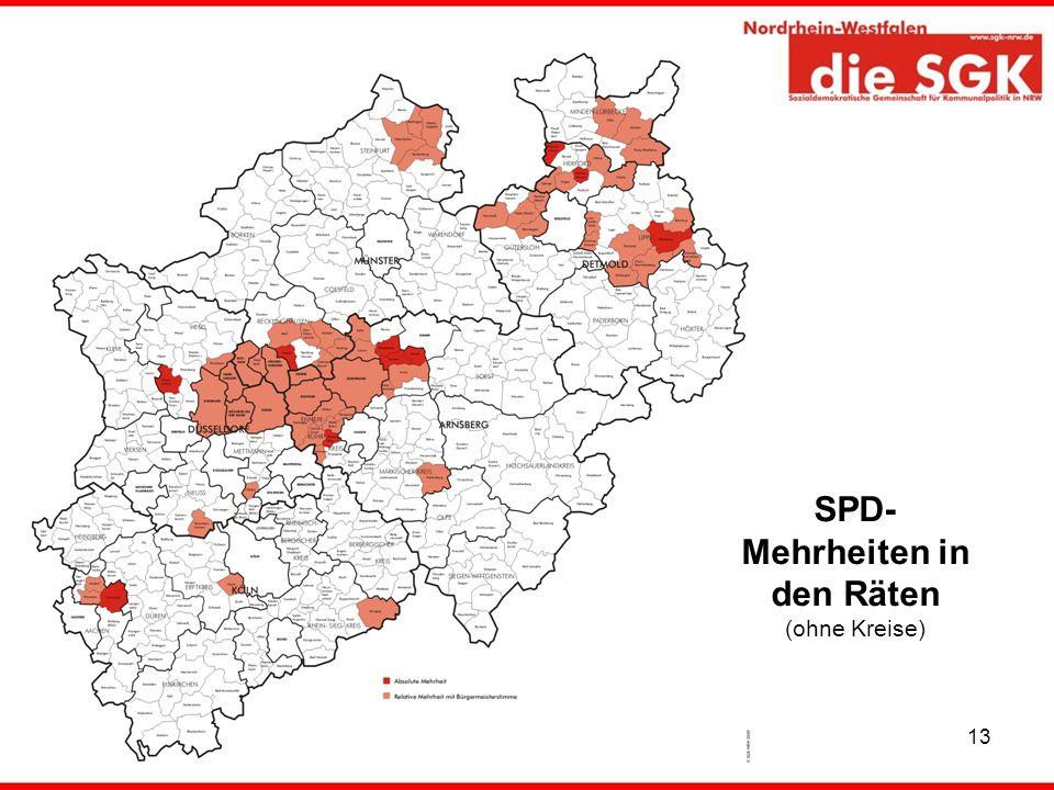 SPD-Mehrheiten in den Räten (ohne Kreise)